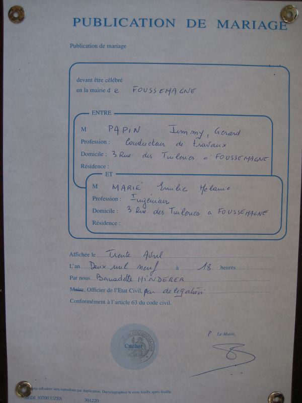 Publication des bans emilie et jimmy mariage le 30 mai 2009 - Publication banc mariage ...