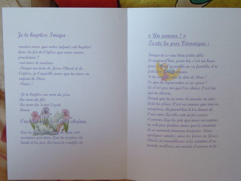 L Interieure Du Livret De Messe Du Bapteme Jessica Et Franck Mariage Le 13 Aout 2005