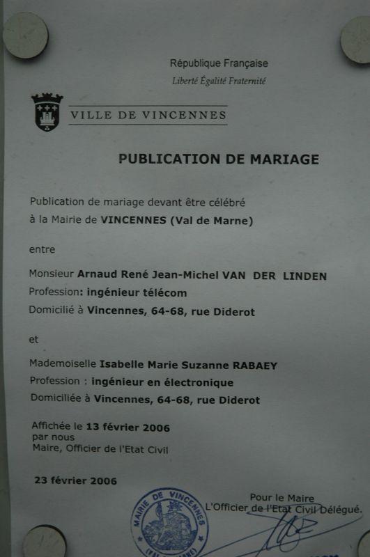 La publication des bans isabelle et arnaud mariage le 30 septembre 2006 - Publication banc mariage ...