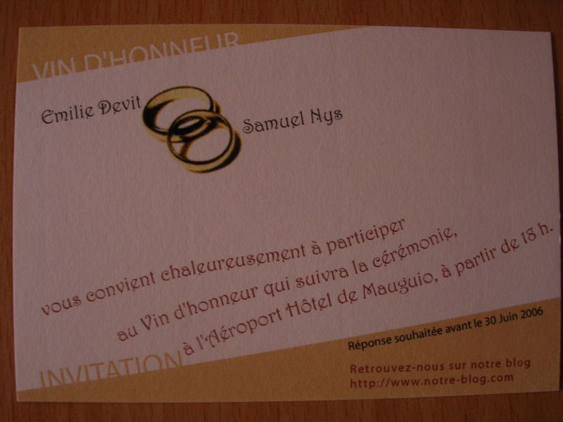 carton d 39 invitation vin d 39 honneur emilie et samuel mariage le 9 septembre 2006. Black Bedroom Furniture Sets. Home Design Ideas