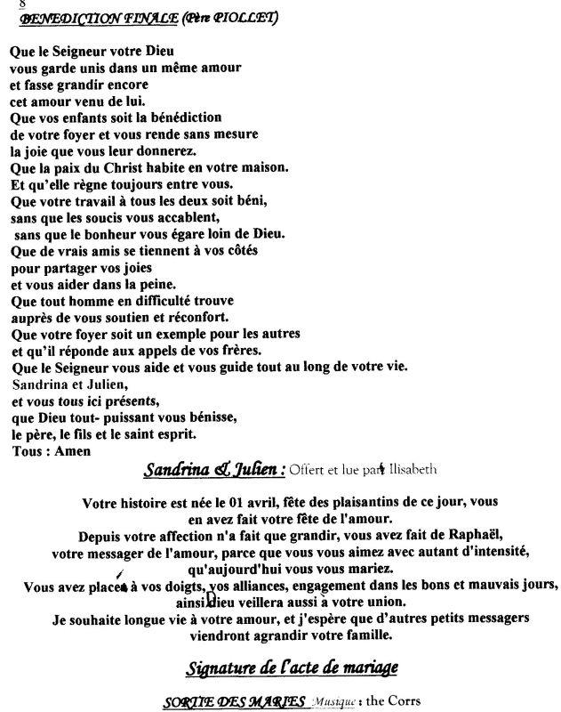dernire page livret de messe sandrine et julien mariage le 1 juillet 2006 - Exemple Remerciement Livret De Messe Mariage