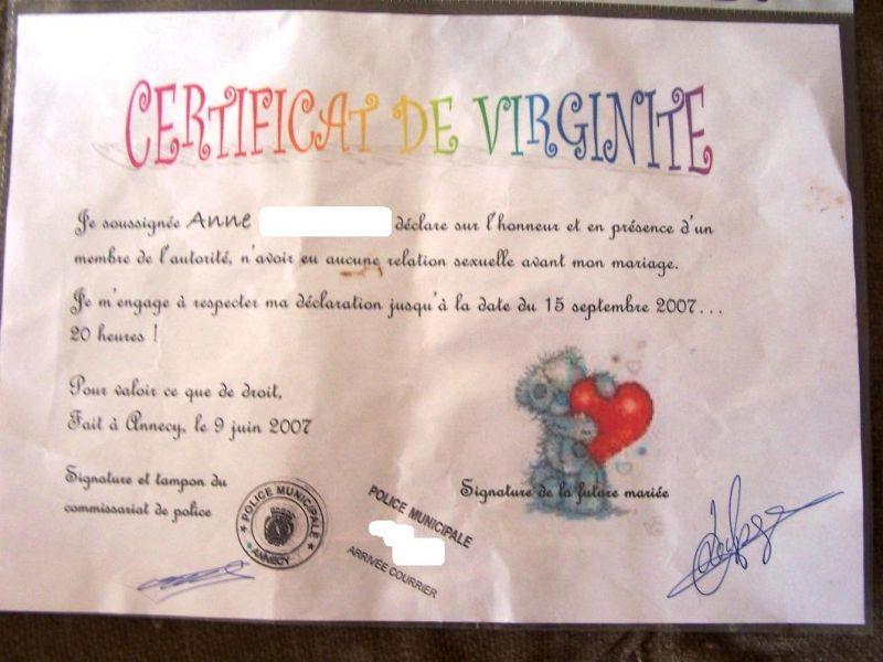 Gut bekannt Certificat de virginité - Anne et David - Mariage le 15 septembre 2007 TQ18