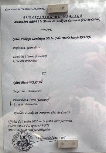 Publication des bans sylvie et c dric mariage le 18 ao t 2007 - Publication banc mariage ...