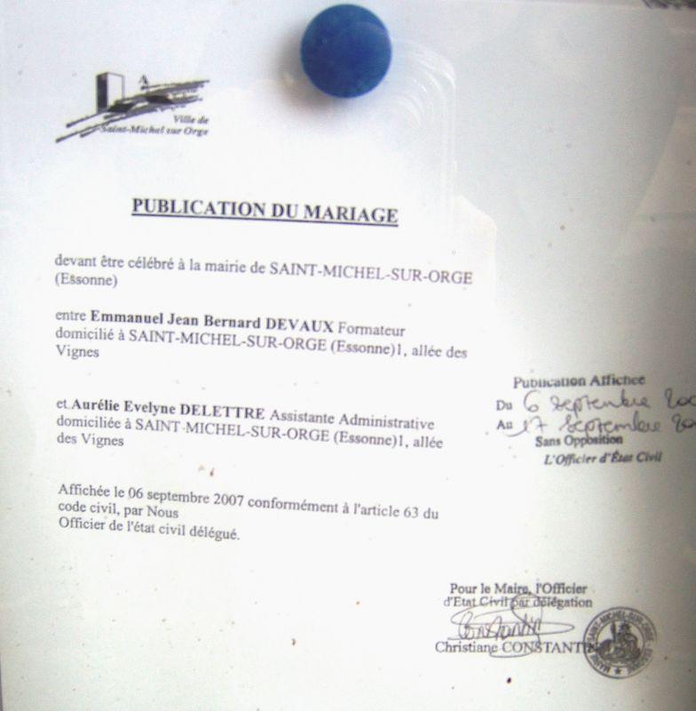 Blog mariage aur lie et emmanuel mariage le 29 septembre 2007 - Publication banc mariage ...