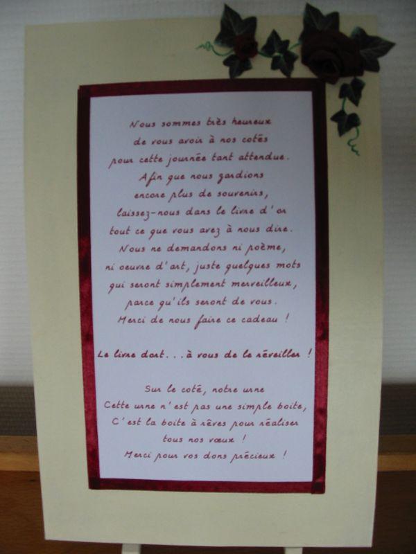 le texte accompagnant l 39 urne et le livre d 39 or ga lle et st phane mariage le 15 septembre 2007. Black Bedroom Furniture Sets. Home Design Ideas