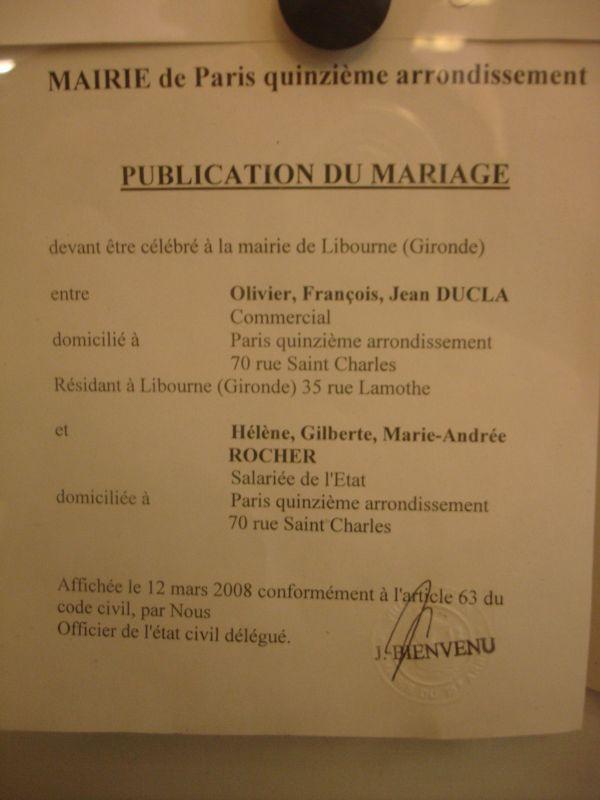 Publication des bans h l ne et olivier mariage le 3 mai 2008 - Publication banc mariage ...