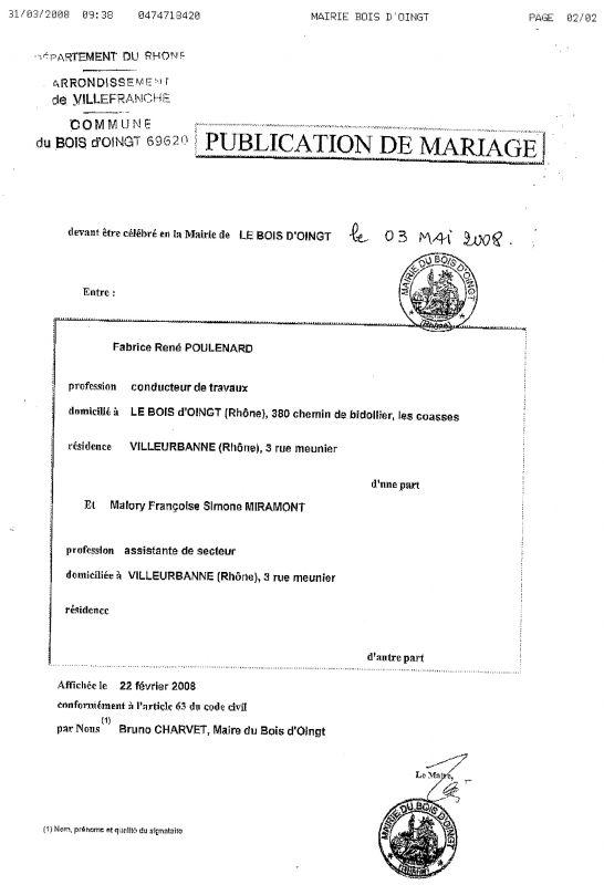 Publication des bans malory et fabrice mariage le 3 mai 2008 - Publication banc mariage ...