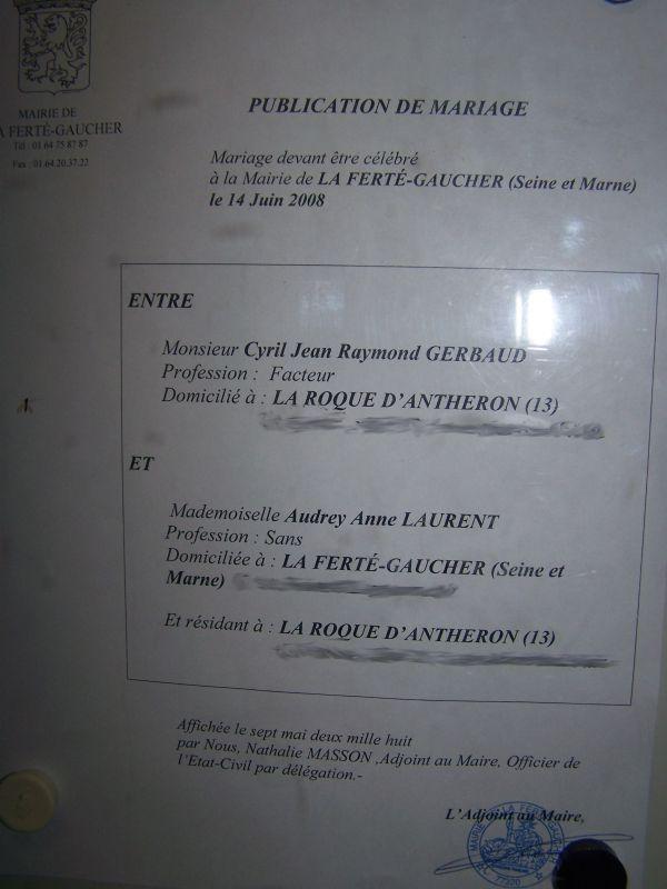 Publication des bans audrey et cyril mariage le 14 juin 2008 - Publication banc mariage ...