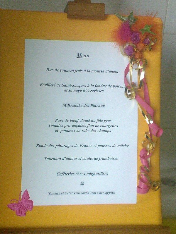 pr sentation du menu vanessa et peter mariage le 6 septembre 2008. Black Bedroom Furniture Sets. Home Design Ideas