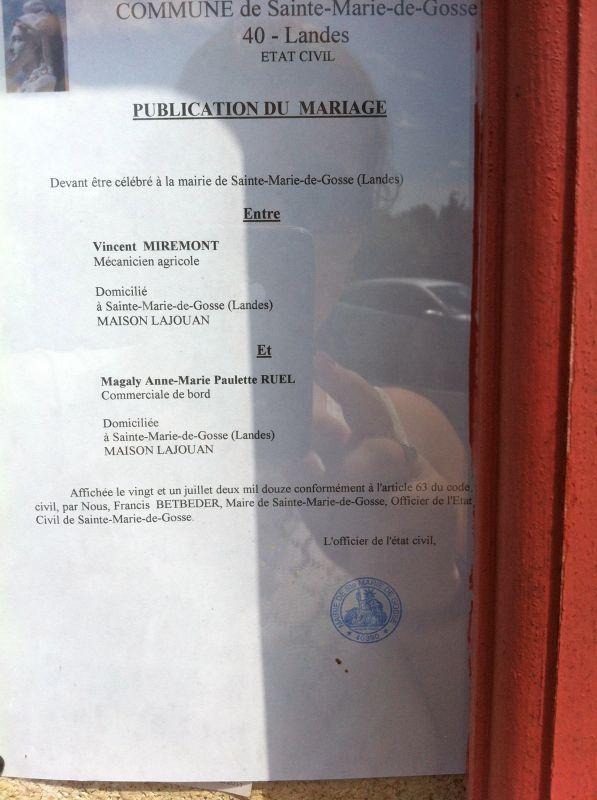 Publication des bans magaly et vincent mariage le 18 ao t 2012 - Publication banc mariage ...